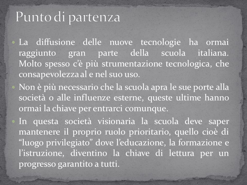 La diffusione delle nuove tecnologie ha ormai raggiunto gran parte della scuola italiana. Molto spesso c'è più strumentazione tecnologica, che consape