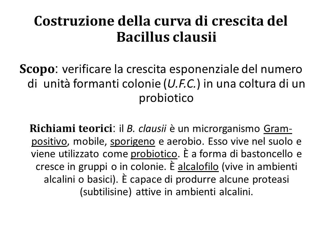 Costruzione della curva di crescita del Bacillus clausii Scopo : verificare la crescita esponenziale del numero di unità formanti colonie (U.F.C.) in una coltura di un probiotico Richiami teorici : il B.