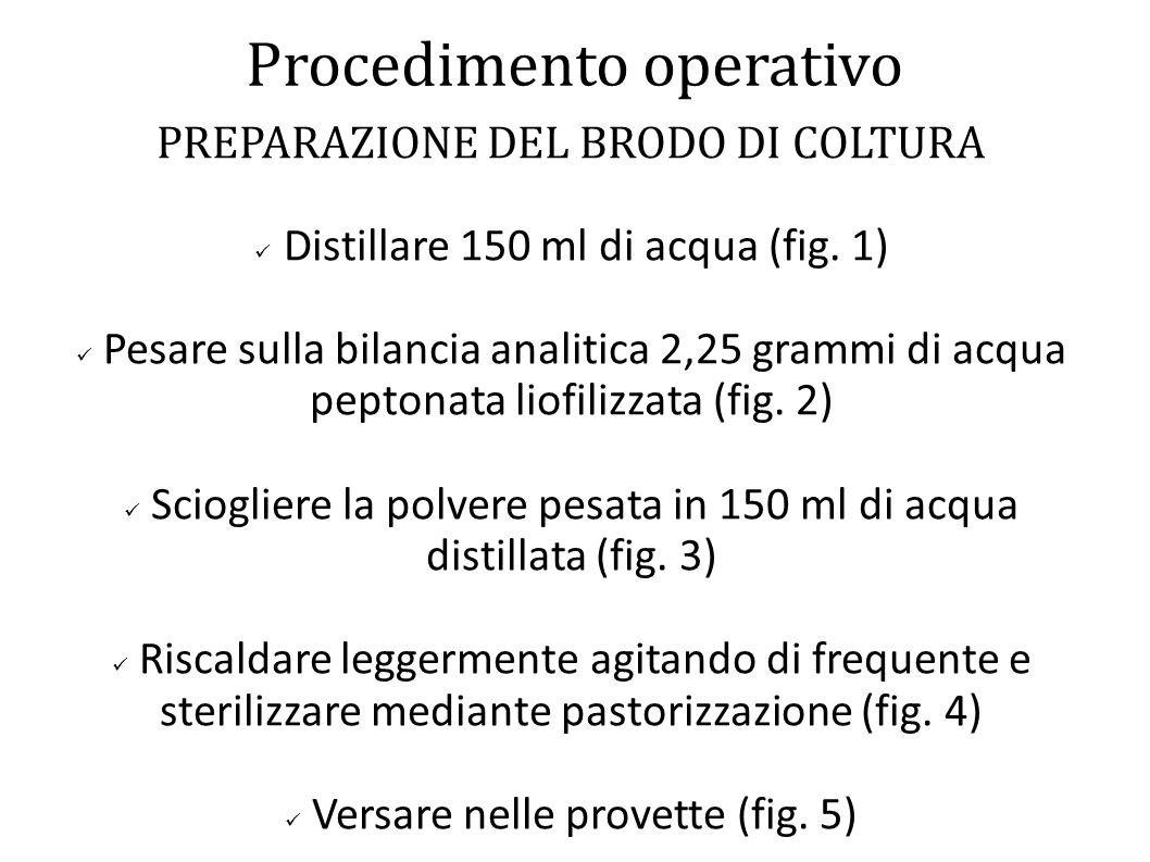 Procedimento operativo PREPARAZIONE DEL BRODO DI COLTURA Distillare 150 ml di acqua (fig. 1) Pesare sulla bilancia analitica 2,25 grammi di acqua pept