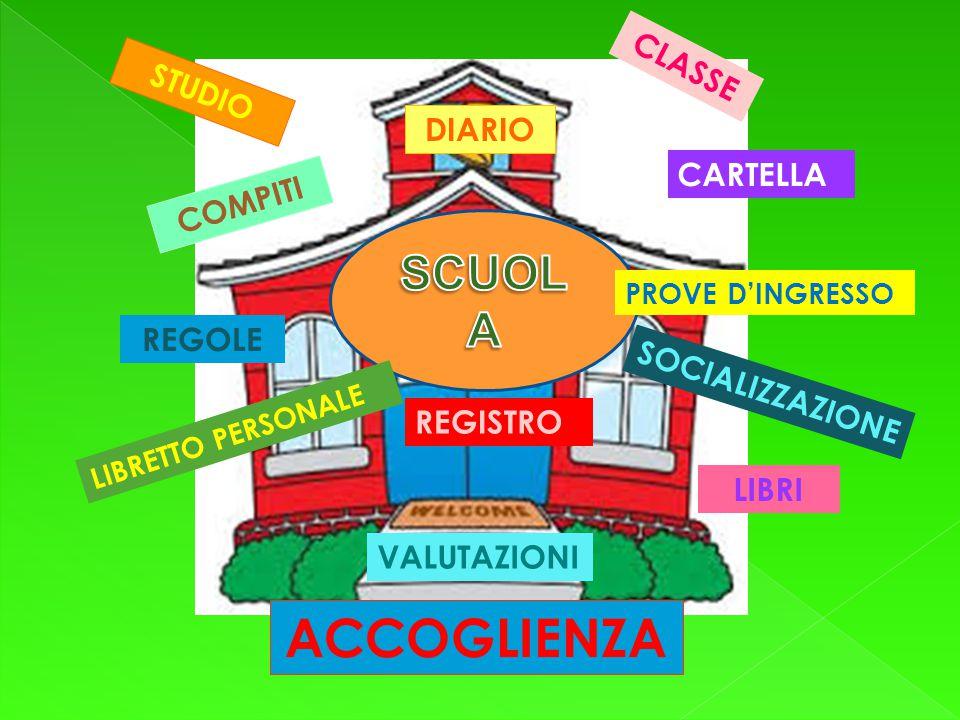 STUDIO DIARIO CARTELLA COMPITI LIBRI REGOLE LIBRETTO PERSONALE PROVE D'INGRESSO VALUTAZIONI REGISTRO ACCOGLIENZA CLASSE SOCIALIZZAZIONE
