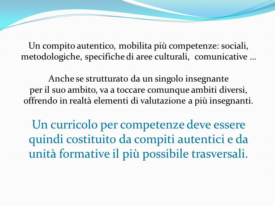 Un compito autentico, mobilita più competenze: sociali, metodologiche, specifiche di aree culturali, comunicative … Anche se strutturato da un singolo