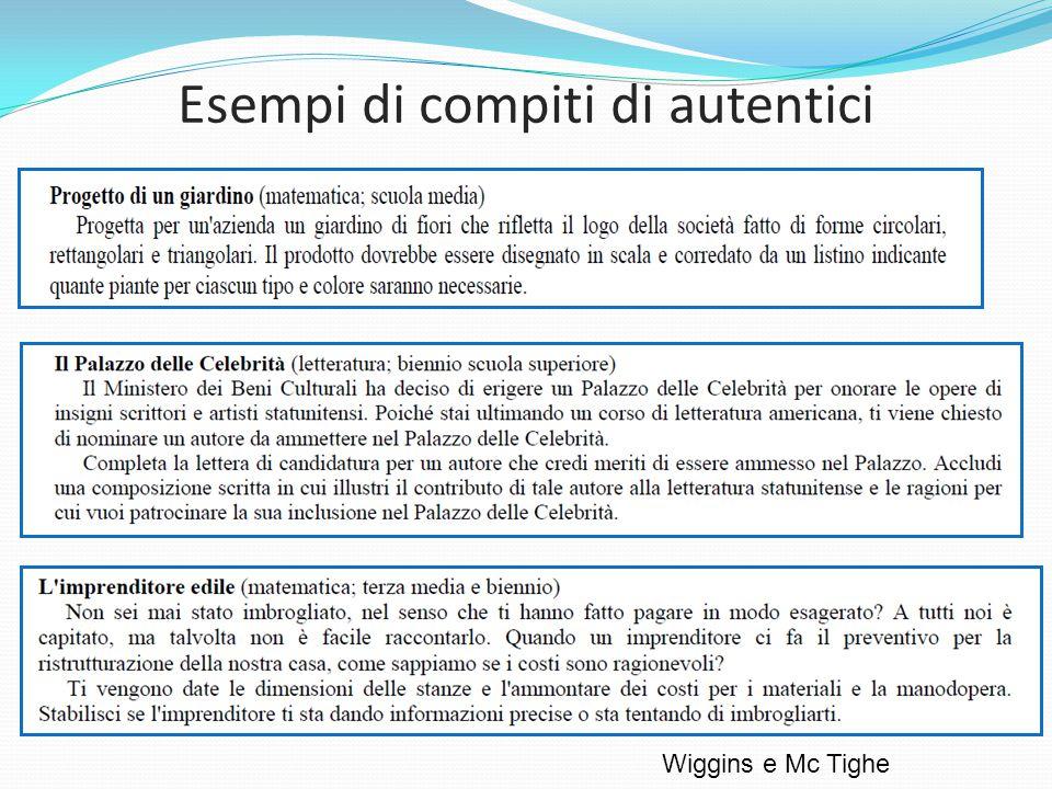 Esempi di compiti di autentici Wiggins e Mc Tighe