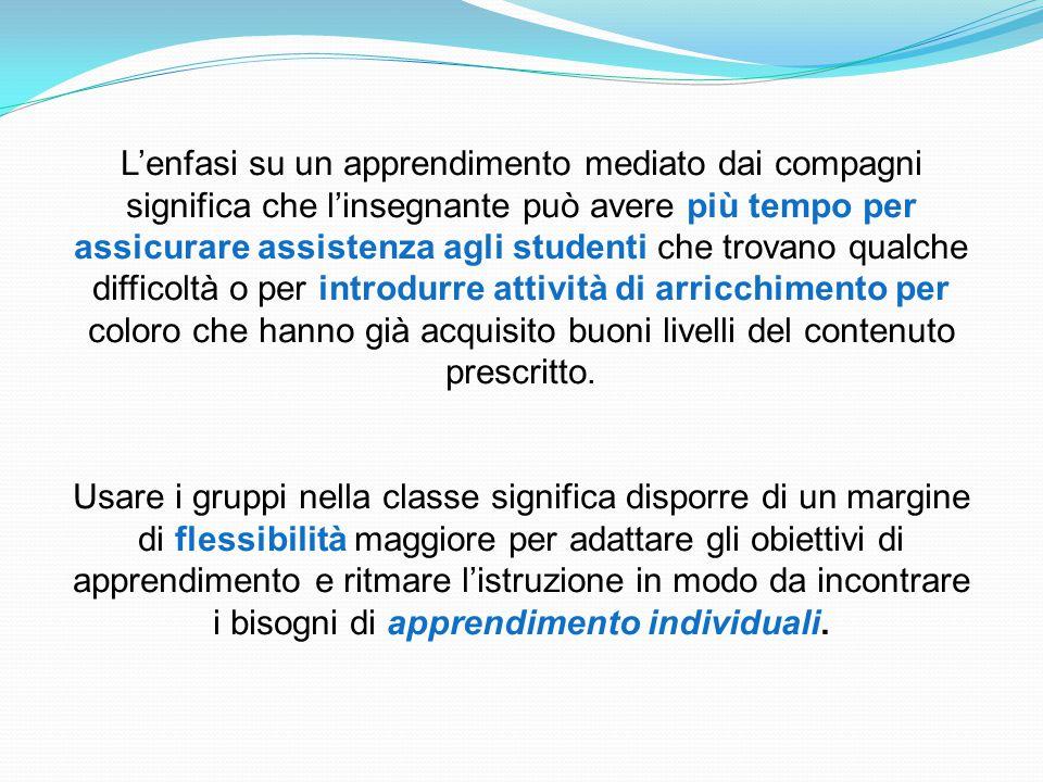 L'enfasi su un apprendimento mediato dai compagni significa che l'insegnante può avere più tempo per assicurare assistenza agli studenti che trovano q