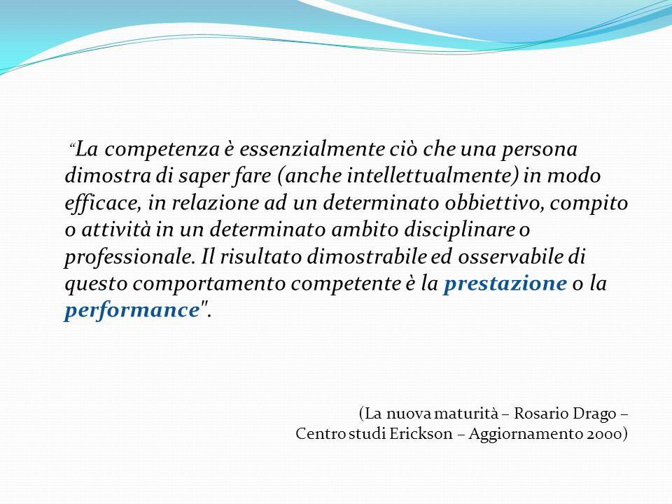 La competenza è essenzialmente ciò che una persona dimostra di saper fare (anche intellettualmente) in modo efficace, in relazione ad un determinato obbiettivo, compito o attività in un determinato ambito disciplinare o professionale.