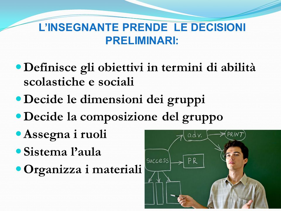 Definisce gli obiettivi in termini di abilità scolastiche e sociali Decide le dimensioni dei gruppi Decide la composizione del gruppo Assegna i ruoli Sistema l'aula Organizza i materiali L'INSEGNANTE PRENDE LE DECISIONI PRELIMINARI: