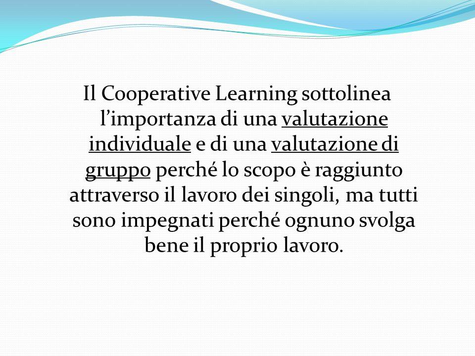 Il Cooperative Learning sottolinea l'importanza di una valutazione individuale e di una valutazione di gruppo perché lo scopo è raggiunto attraverso i