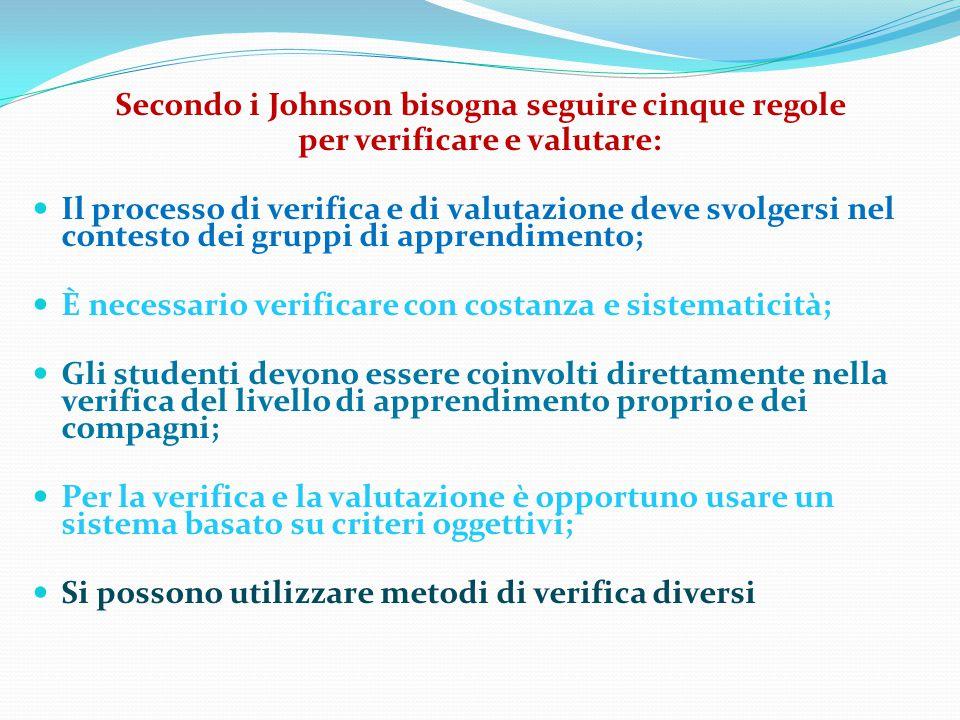 Secondo i Johnson bisogna seguire cinque regole per verificare e valutare: Il processo di verifica e di valutazione deve svolgersi nel contesto dei gr