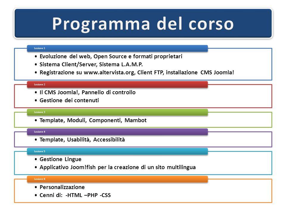 Evoluzione del web, Open Source e formati proprietari Sistema Client/Server, Sistema L.A.M.P. Registrazione su www.altervista.org, Client FTP, install