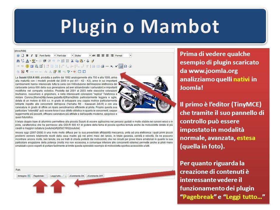 Prima di vedere qualche esempio di plugin scaricato da www.joomla.org analizziamo quelli nativi in Joomla! Il primo è l'editor (TinyMCE) che tramite i