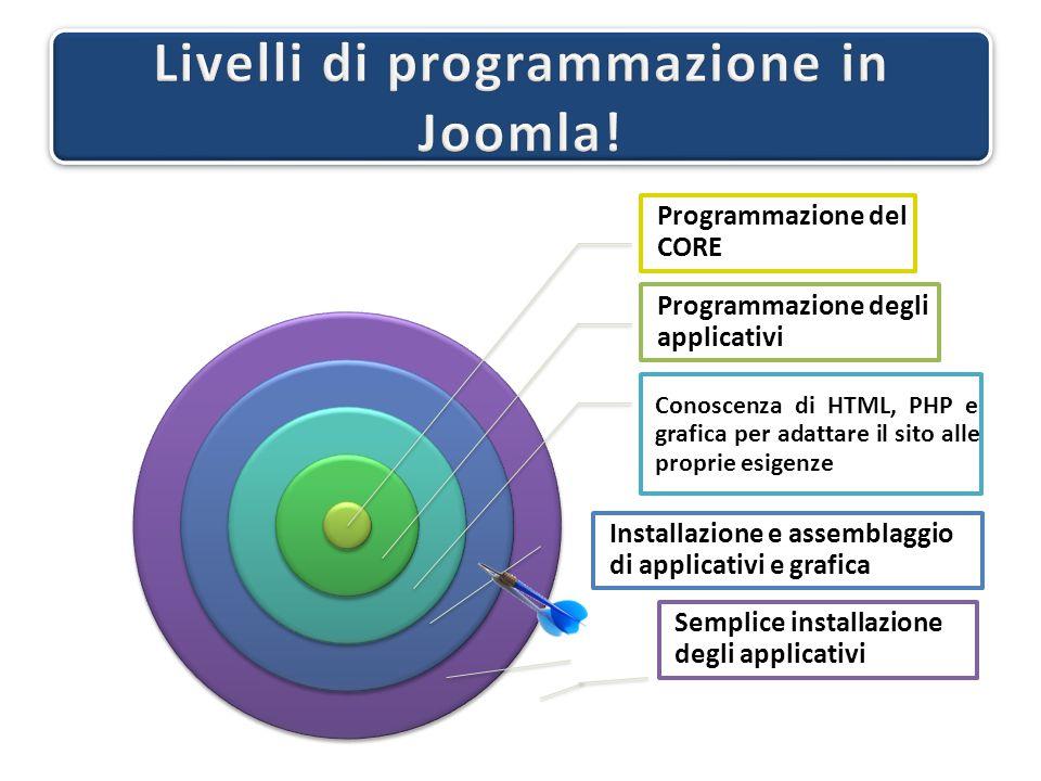 Programmazione del CORE Programmazione degli applicativi Conoscenza di HTML, PHP e grafica per adattare il sito alle proprie esigenze Installazione e assemblaggio di applicativi e grafica Semplice installazione degli applicativi