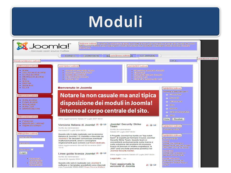 Notare la non casuale ma anzi tipica disposizione dei moduli in Joomla! intorno al corpo centrale del sito. Notare la non casuale ma anzi tipica dispo