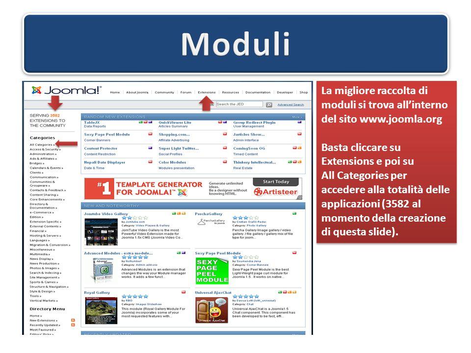 La migliore raccolta di moduli si trova all'interno del sito www.joomla.org Basta cliccare su Extensions e poi su All Categories per accedere alla totalità delle applicazioni (3582 al momento della creazione di questa slide).
