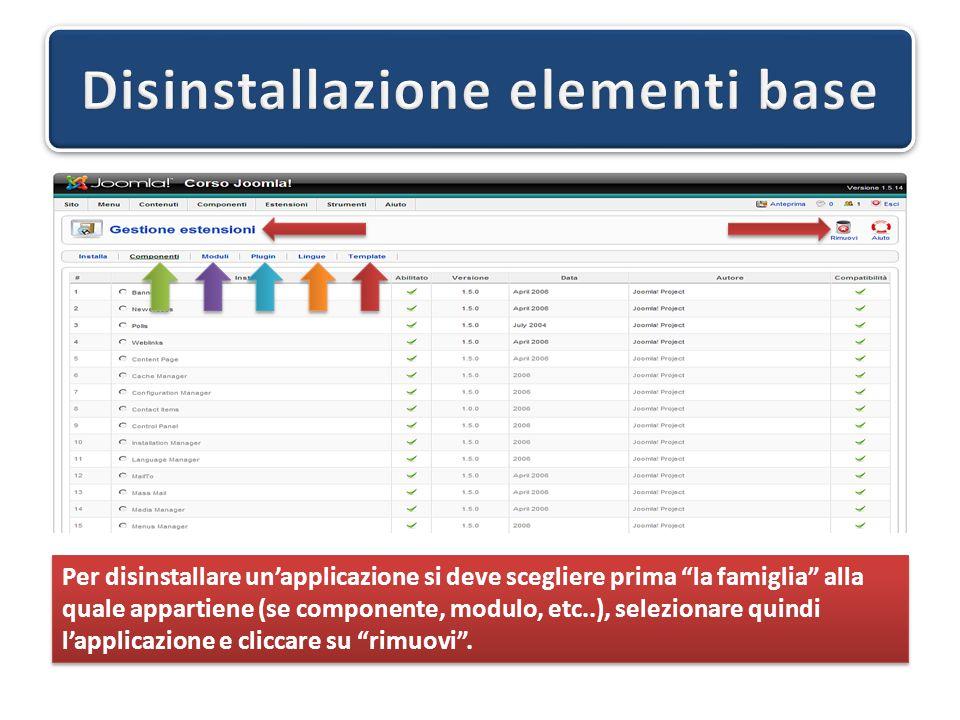 Per disinstallare un'applicazione si deve scegliere prima la famiglia alla quale appartiene (se componente, modulo, etc..), selezionare quindi l'applicazione e cliccare su rimuovi .