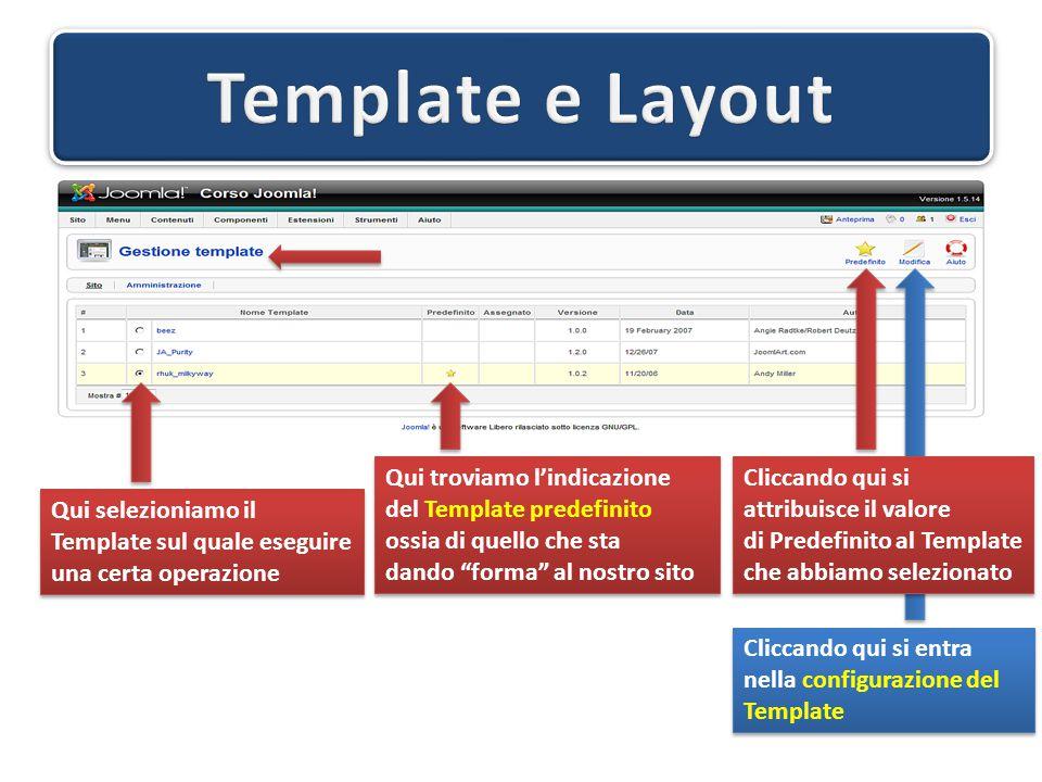 Cliccando su un modulo si accede al pannello di controllo Il Pannello di configurazione è uguale per tutti i moduli, ossia si compone di 3 parti delle quali Dettagli e Assegnazione menu sono standard per tutti mentre Parametri è, ovviamente, specifica per il tipo di modulo che si è selezionato.