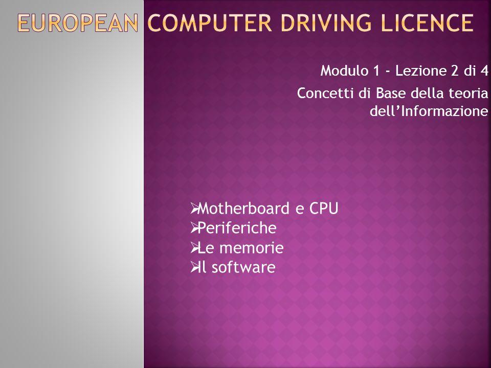 Modulo 1 - Lezione 2 di 4 Concetti di Base della teoria dell'Informazione  Motherboard e CPU  Periferiche  Le memorie  Il software