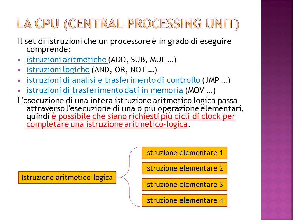 Il set di istruzioni che un processore è in grado di eseguire comprende:  istruzioni aritmetiche (ADD, SUB, MUL …)  istruzioni logiche (AND, OR, NOT