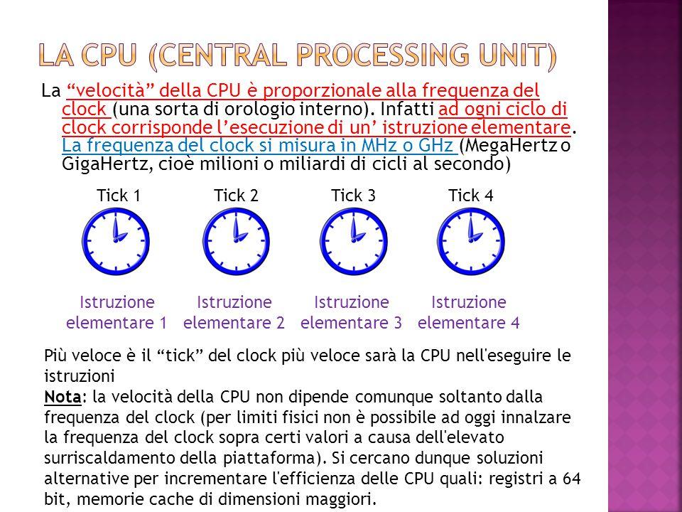 """La """"velocità"""" della CPU è proporzionale alla frequenza del clock (una sorta di orologio interno). Infatti ad ogni ciclo di clock corrisponde l'esecuzi"""