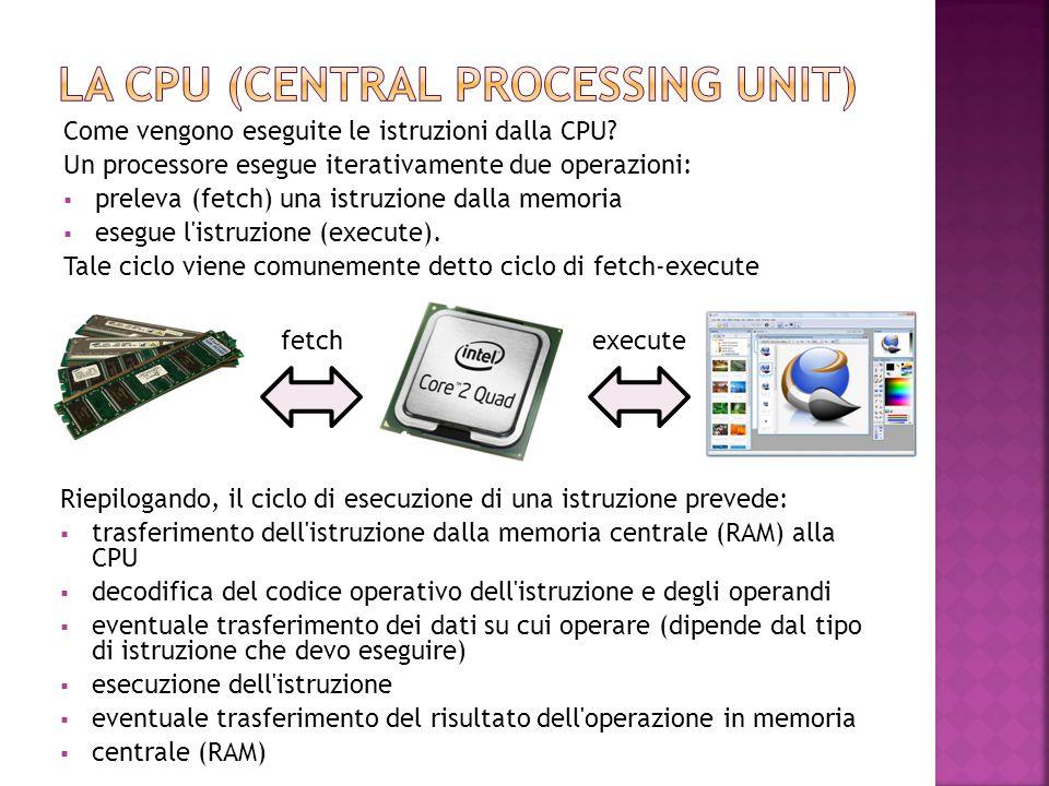 Come vengono eseguite le istruzioni dalla CPU? Un processore esegue iterativamente due operazioni:  preleva (fetch) una istruzione dalla memoria  es