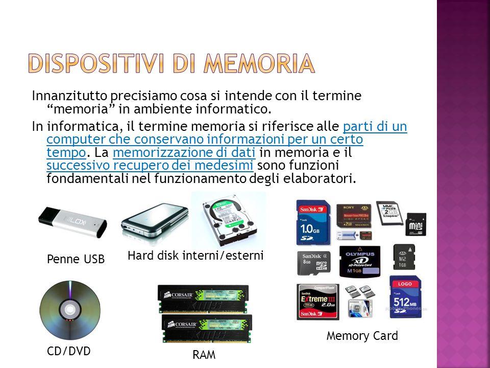 """Innanzitutto precisiamo cosa si intende con il termine """"memoria"""" in ambiente informatico. In informatica, il termine memoria si riferisce alle parti d"""