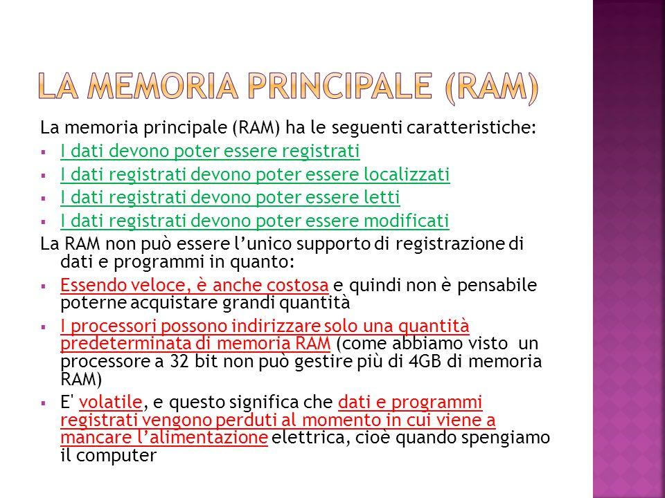 La memoria principale (RAM) ha le seguenti caratteristiche:  I dati devono poter essere registrati  I dati registrati devono poter essere localizzat