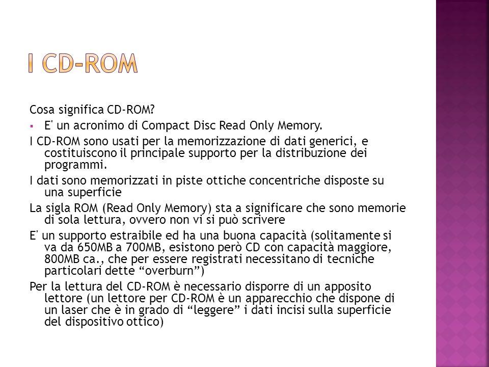 Cosa significa CD-ROM?  E' un acronimo di Compact Disc Read Only Memory. I CD-ROM sono usati per la memorizzazione di dati generici, e costituiscono