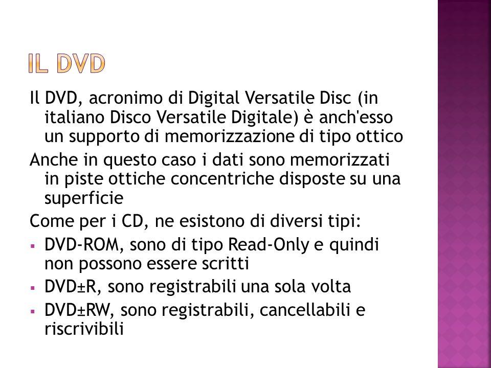 Il DVD, acronimo di Digital Versatile Disc (in italiano Disco Versatile Digitale) è anch'esso un supporto di memorizzazione di tipo ottico Anche in qu