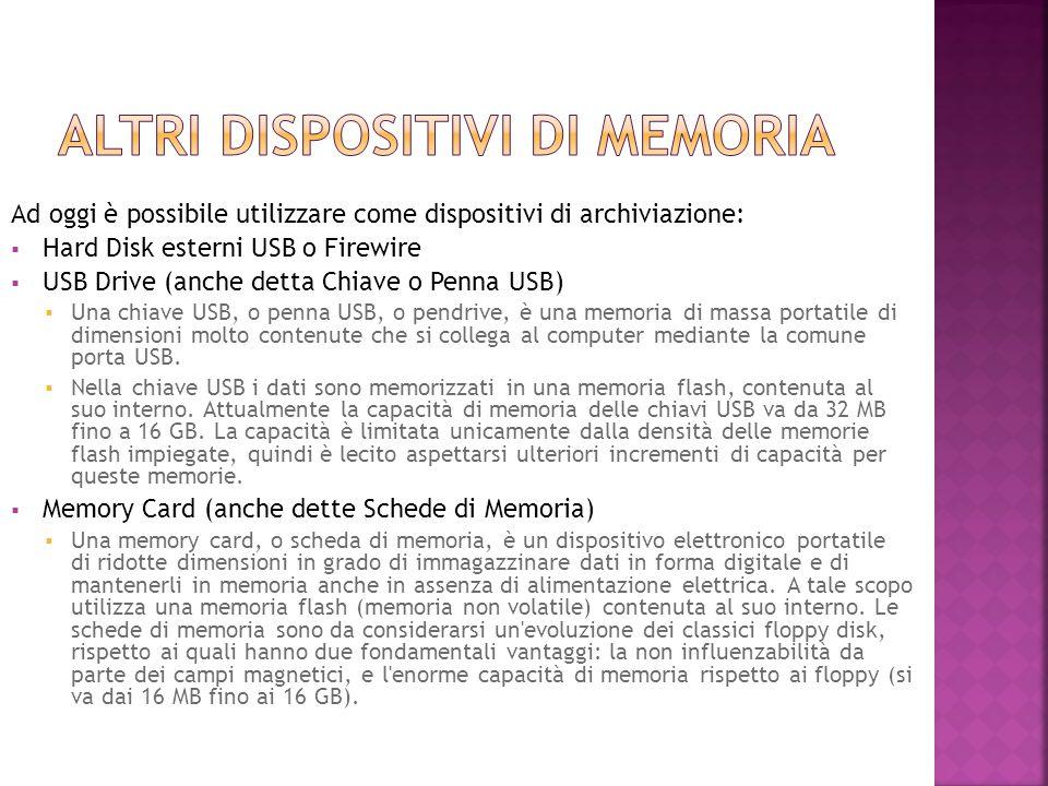Ad oggi è possibile utilizzare come dispositivi di archiviazione:  Hard Disk esterni USB o Firewire  USB Drive (anche detta Chiave o Penna USB)  Un