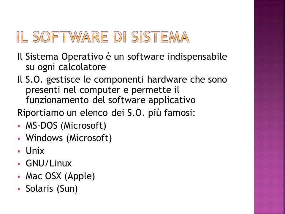 Il Sistema Operativo è un software indispensabile su ogni calcolatore Il S.O. gestisce le componenti hardware che sono presenti nel computer e permett