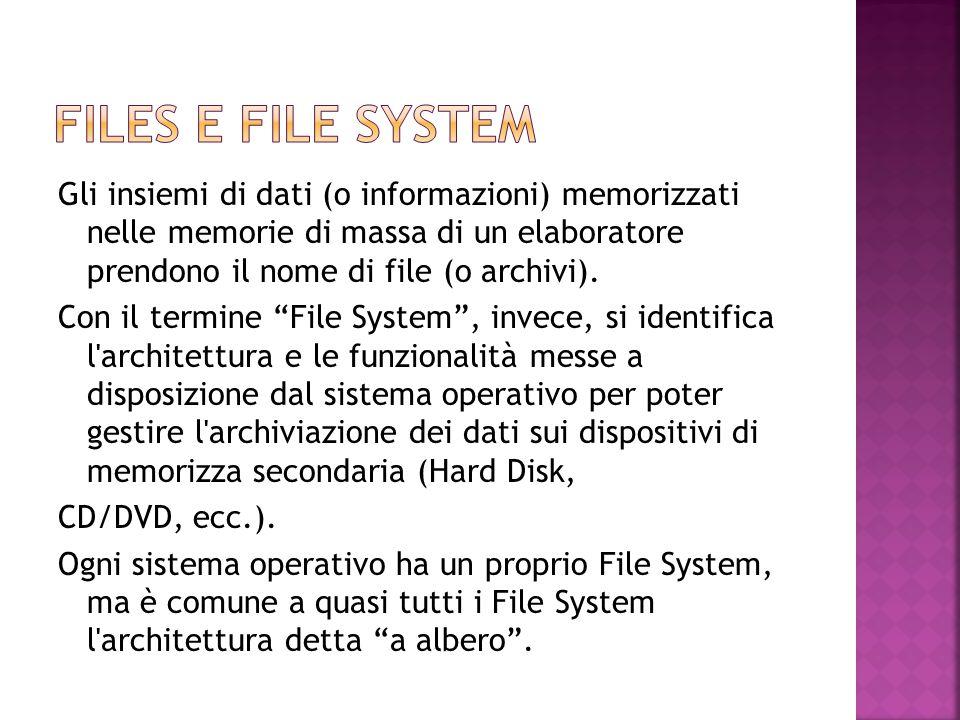"""Gli insiemi di dati (o informazioni) memorizzati nelle memorie di massa di un elaboratore prendono il nome di file (o archivi). Con il termine """"File S"""