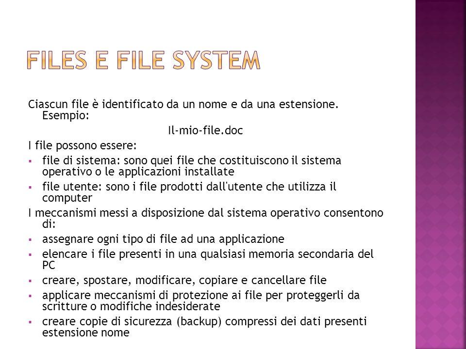 Ciascun file è identificato da un nome e da una estensione. Esempio: Il-mio-file.doc I file possono essere:  file di sistema: sono quei file che cost