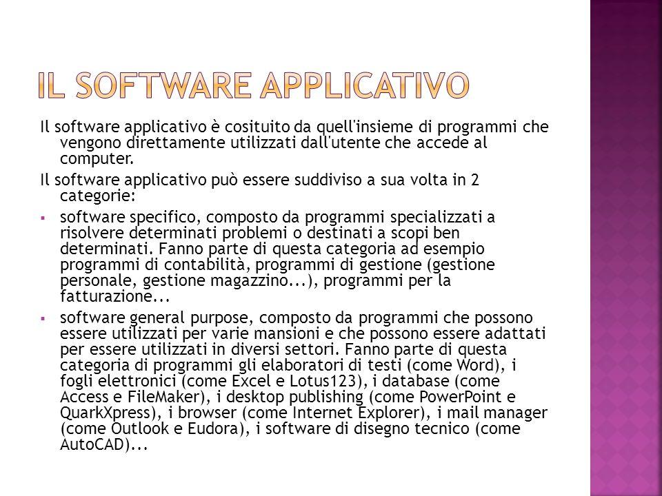Il software applicativo è cosituito da quell'insieme di programmi che vengono direttamente utilizzati dall'utente che accede al computer. Il software