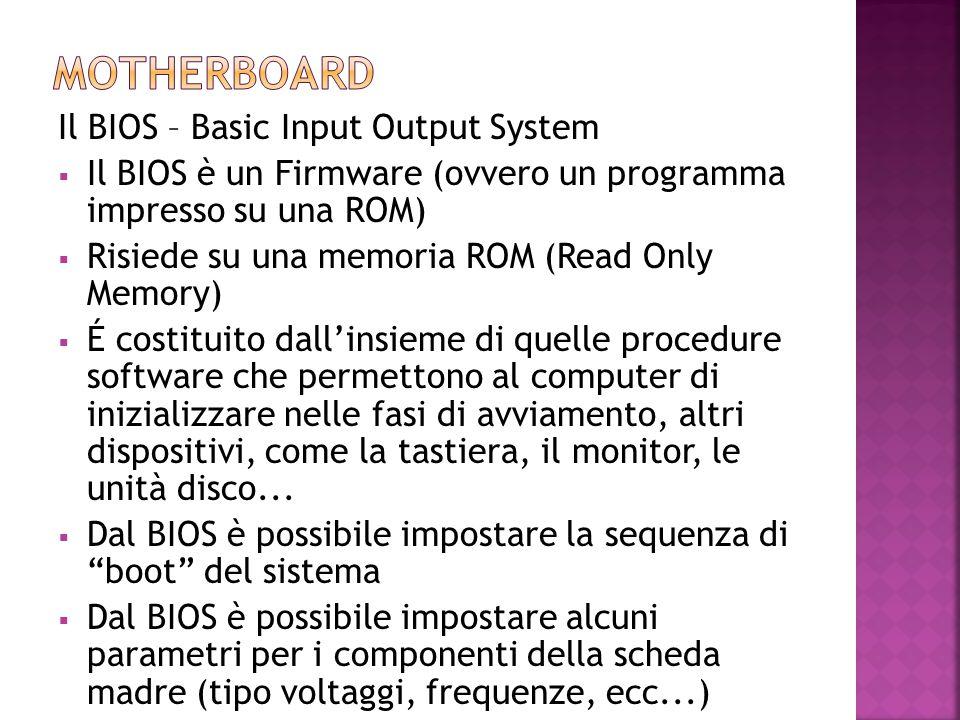 Il BIOS – Basic Input Output System  Il BIOS è un Firmware (ovvero un programma impresso su una ROM)  Risiede su una memoria ROM (Read Only Memory)