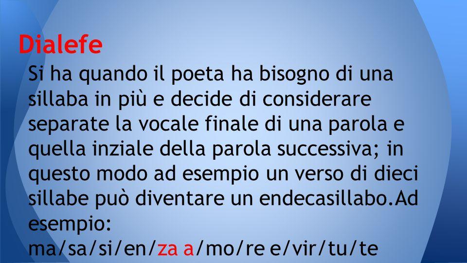 Si ha quando il poeta ha bisogno di una sillaba in più e decide di considerare separate la vocale finale di una parola e quella inziale della parola s