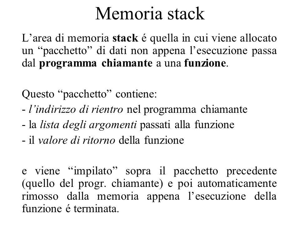 Memoria stack L'area di memoria stack é quella in cui viene allocato un pacchetto di dati non appena l'esecuzione passa dal programma chiamante a una funzione.