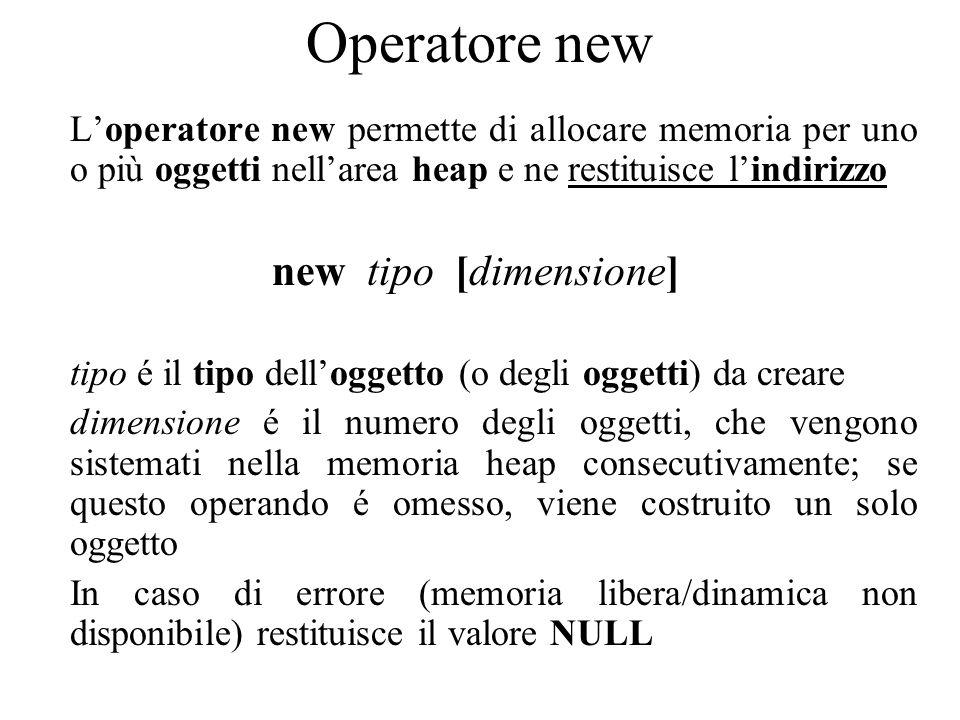 Operatore new L'operatore new permette di allocare memoria per uno o più oggetti nell'area heap e ne restituisce l'indirizzo new tipo [dimensione] tipo é il tipo dell'oggetto (o degli oggetti) da creare dimensione é il numero degli oggetti, che vengono sistemati nella memoria heap consecutivamente; se questo operando é omesso, viene costruito un solo oggetto In caso di errore (memoria libera/dinamica non disponibile) restituisce il valore NULL