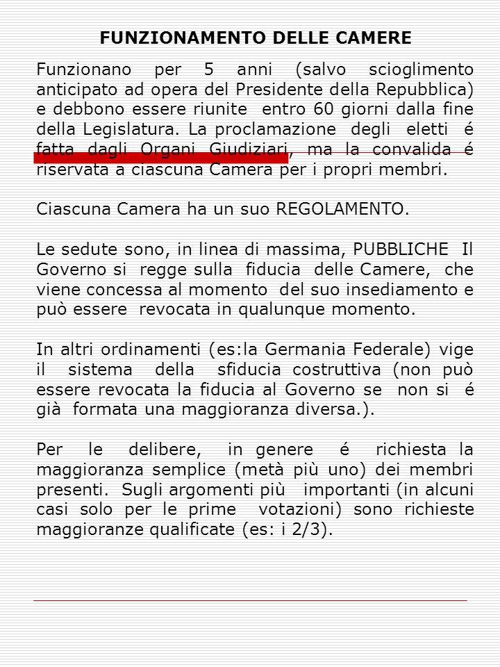 FUNZIONAMENTO DELLE CAMERE Funzionano per 5 anni (salvo scioglimento anticipato ad opera del Presidente della Repubblica) e debbono essere riunite entro 60 giorni dalla fine della Legislatura.
