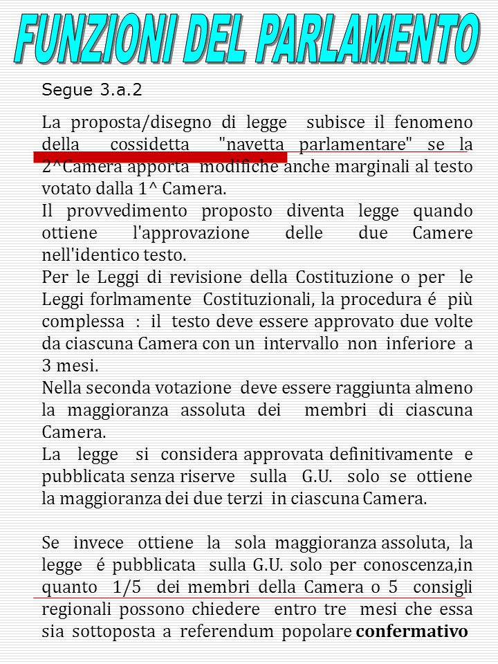 La proposta/disegno di legge subisce il fenomeno della cossidetta navetta parlamentare se la 2^Camera apporta modifiche anche marginali al testo votato dalla 1^ Camera.