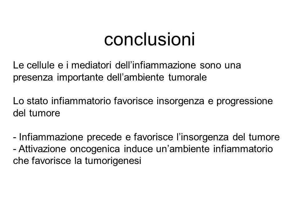 conclusioni Le cellule e i mediatori dell'infiammazione sono una presenza importante dell'ambiente tumorale Lo stato infiammatorio favorisce insorgenz