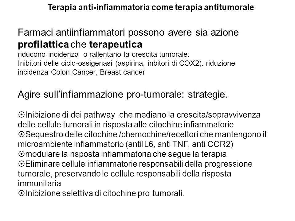 Farmaci antiinfiammatori possono avere sia azione profilattica che terapeutica riducono incidenza o rallentano la crescita tumorale: Inibitori delle c