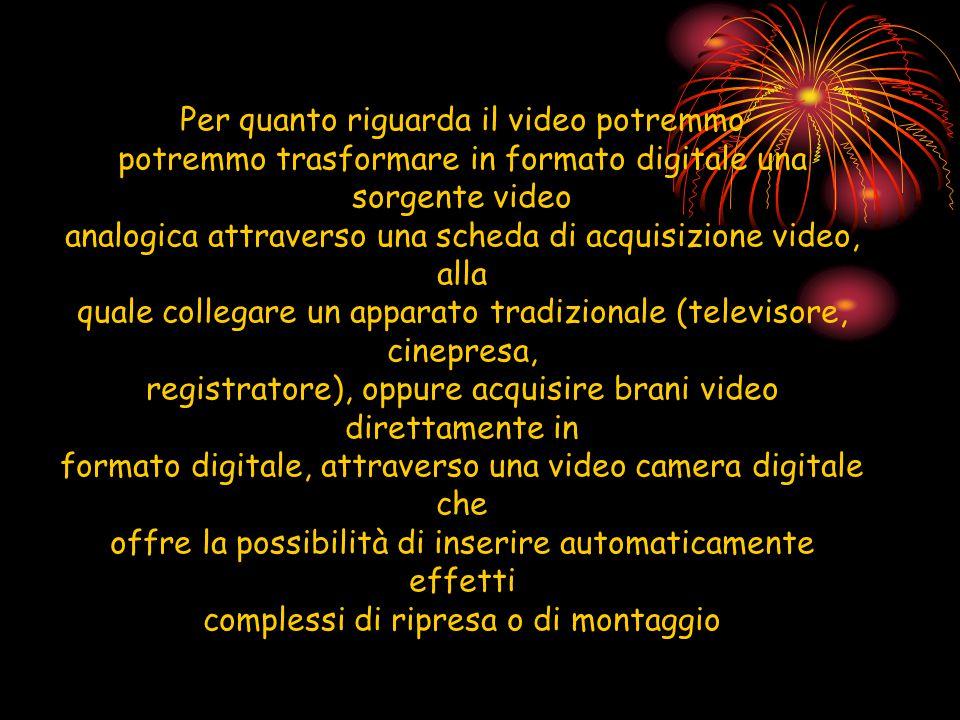 Per quanto riguarda il video potremmo potremmo trasformare in formato digitale una sorgente video analogica attraverso una scheda di acquisizione vide
