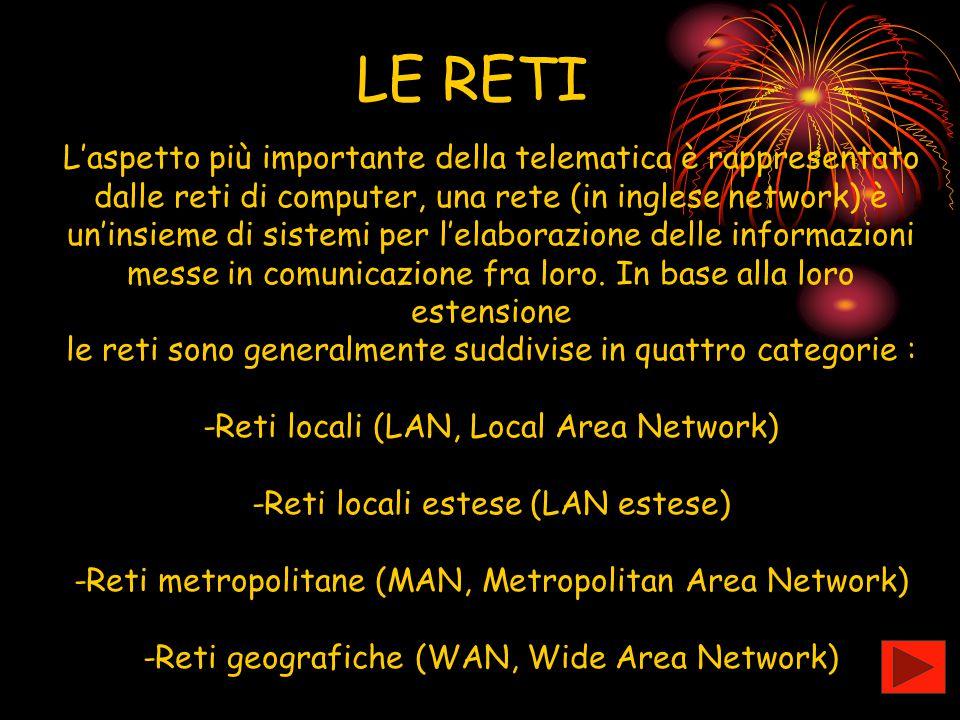 LE RETI L'aspetto più importante della telematica è rappresentato dalle reti di computer, una rete (in inglese network) è un'insieme di sistemi per l'
