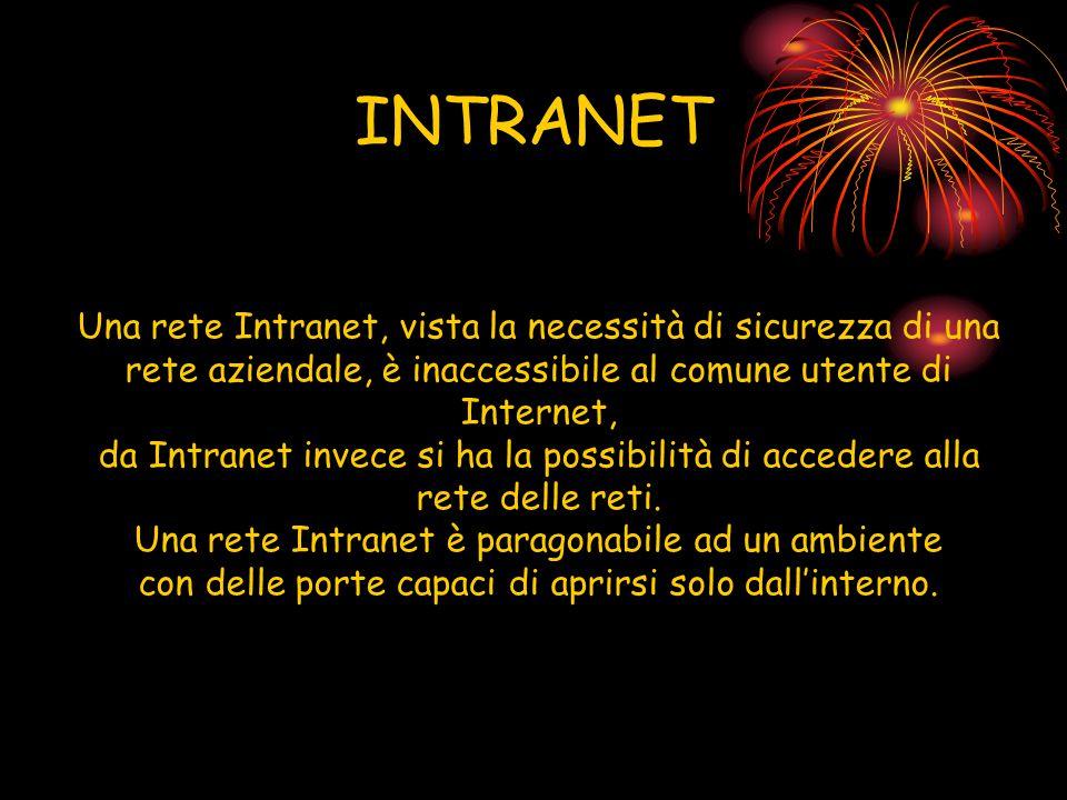 INTRANET Una rete Intranet, vista la necessità di sicurezza di una rete aziendale, è inaccessibile al comune utente di Internet, da Intranet invece si