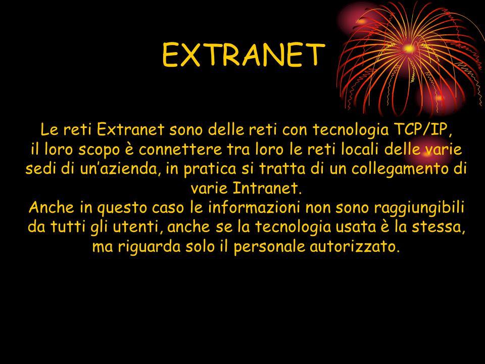 EXTRANET Le reti Extranet sono delle reti con tecnologia TCP/IP, il loro scopo è connettere tra loro le reti locali delle varie sedi di un'azienda, in