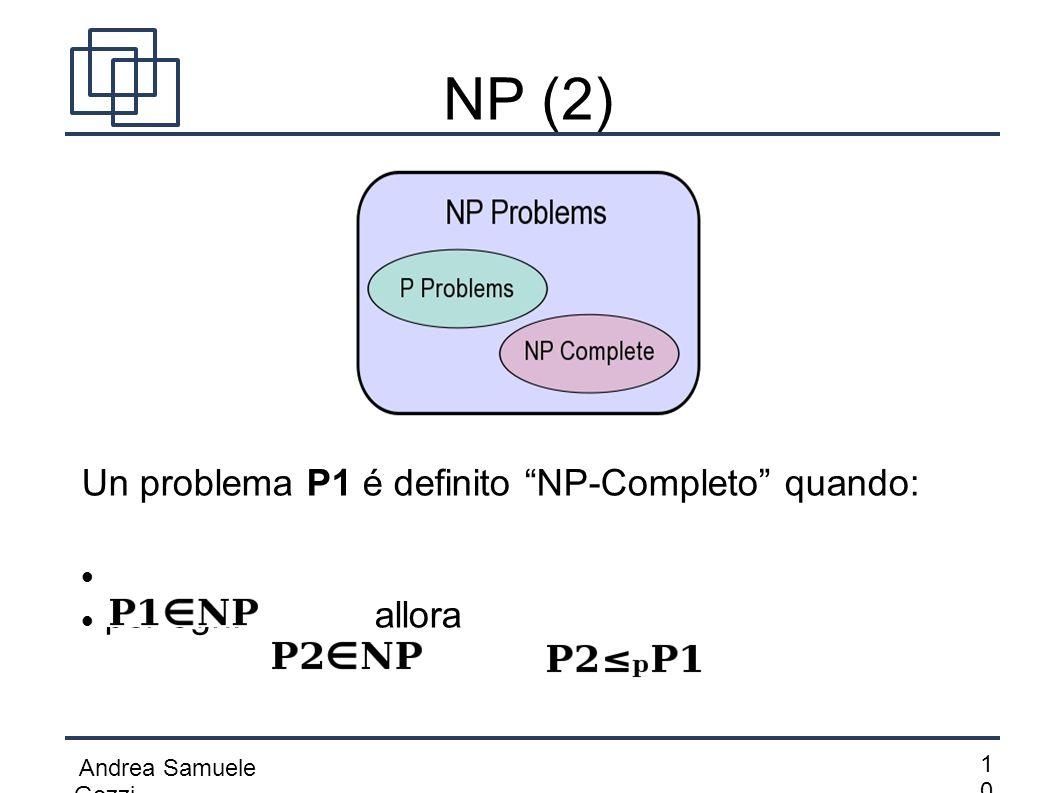 """Andrea Samuele Gozzi 1010 NP (2) Un problema P1 é definito """"NP-Completo"""" quando: per ogni allora"""