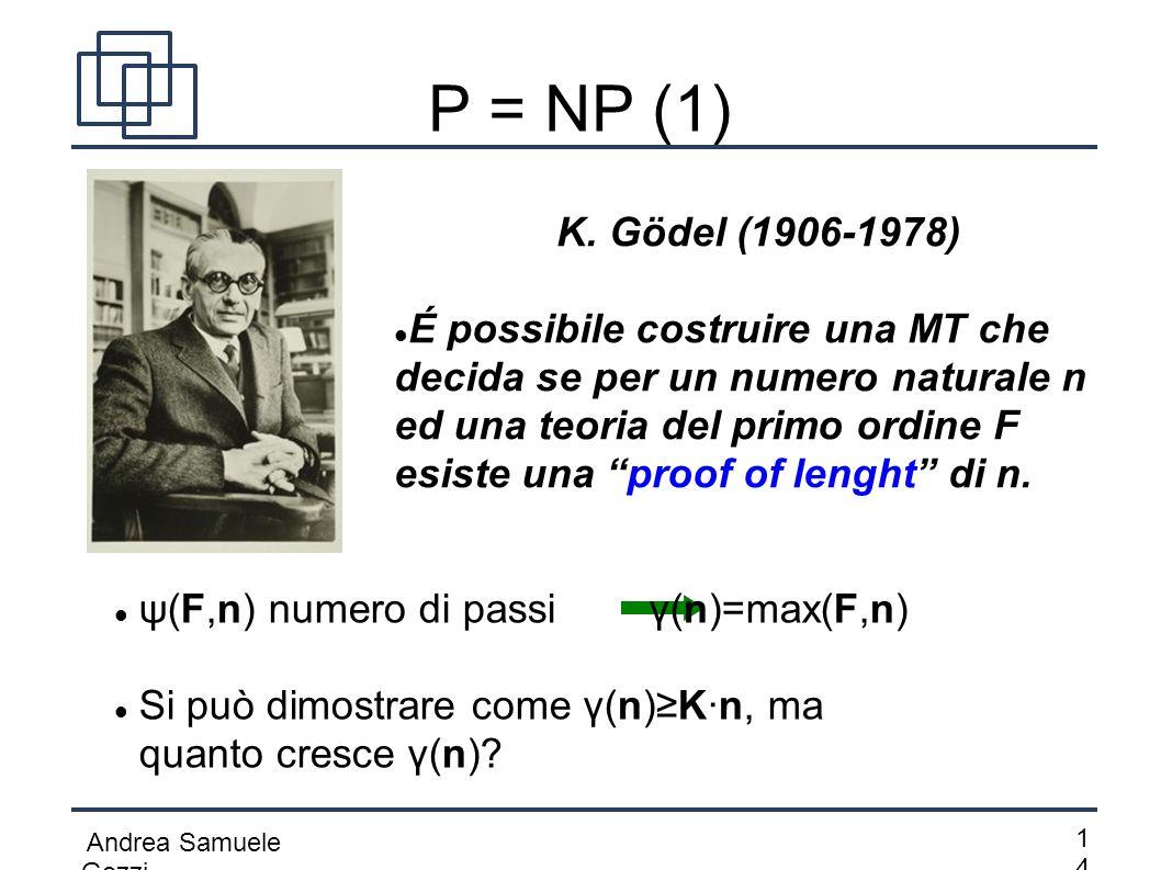 Andrea Samuele Gozzi 1414 P = NP (1) K. Gödel (1906-1978) É possibile costruire una MT che decida se per un numero naturale n ed una teoria del prim