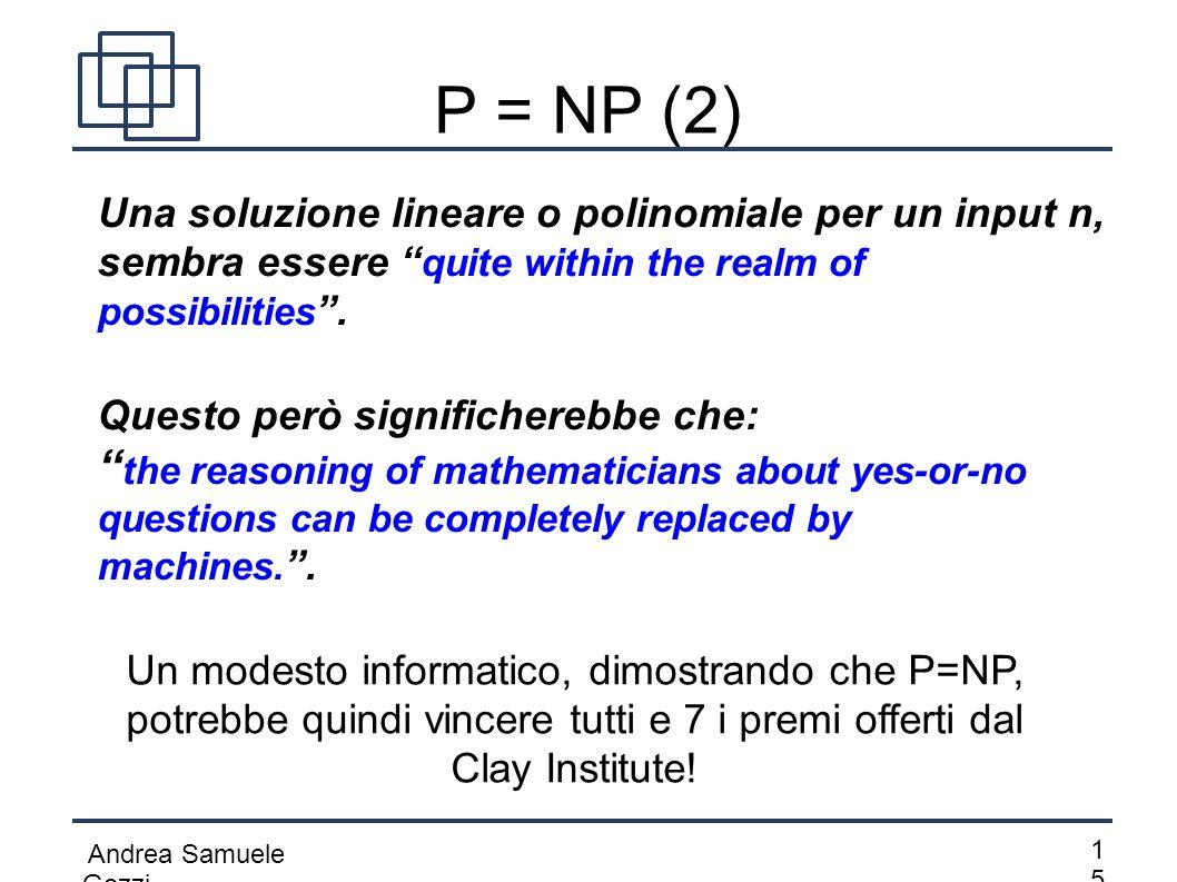 """Andrea Samuele Gozzi 1515 P = NP (2) Una soluzione lineare o polinomiale per un input n, sembra essere """" quite within the realm of possibilities """". Q"""