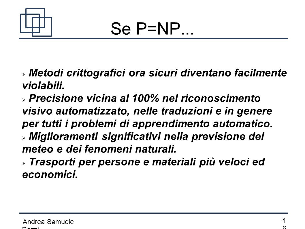 Andrea Samuele Gozzi 1616 Se P=NP...  Metodi crittografici ora sicuri diventano facilmente violabili.  Precisione vicina al 100% nel riconoscimento