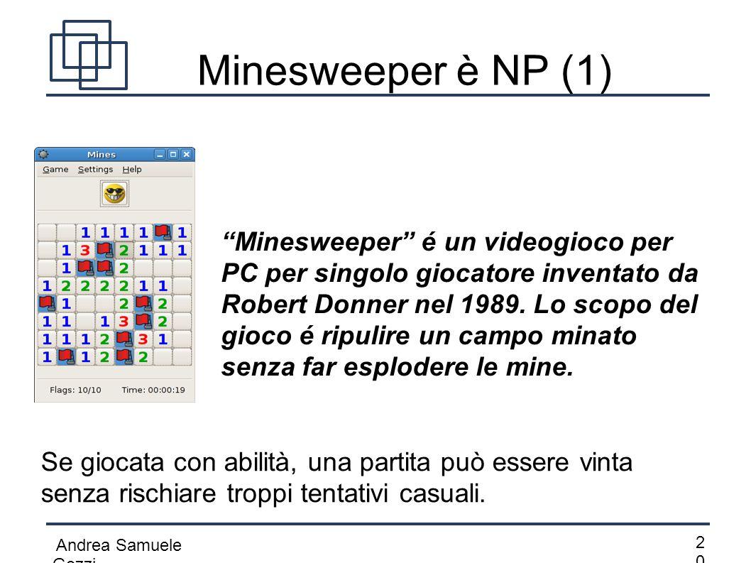 """Andrea Samuele Gozzi 2020 Minesweeper è NP (1) """"Minesweeper"""" é un videogioco per PC per singolo giocatore inventato da Robert Donner nel 1989. Lo sco"""