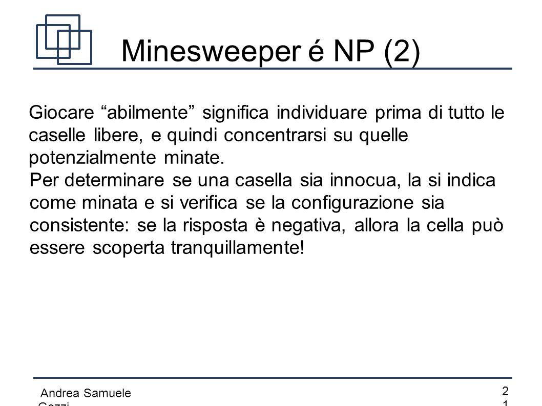 """Andrea Samuele Gozzi 2121 Minesweeper é NP (2) Giocare """"abilmente"""" significa individuare prima di tutto le caselle libere, e quindi concentrarsi su q"""