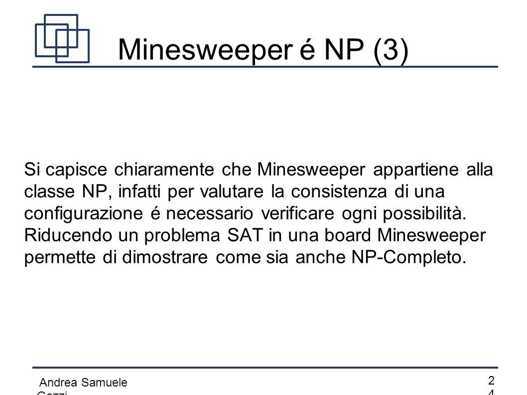 Andrea Samuele Gozzi 2424 Minesweeper é NP (3) Si capisce chiaramente che Minesweeper appartiene alla classe NP, infatti per valutare la consistenza